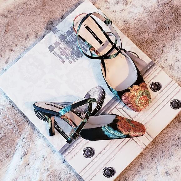 b811f177649 Zara embroidered kitten heel slingback shoes